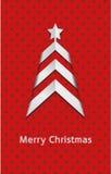 Cartolina di Natale rossa di vettore semplice – albero Fotografia Stock