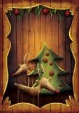Cartolina di Natale - Rudolph con l'albero nel telaio di legno royalty illustrazione gratis