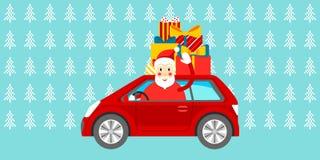 Cartolina di Natale Santa con i regali sull'automobile Vettore illustrazione di stock