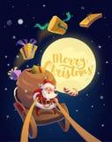 Cartolina di Natale Santa con il mazzo di presente e di caramelle che guidano su una slitta con la luna ai precedenti Buon Natale illustrazione vettoriale