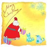 Cartolina di Natale Santa di divertimento di vettore e cani blu Immagine Stock