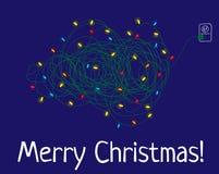 Cartolina di Natale semplice con un albero illustrazione di stock