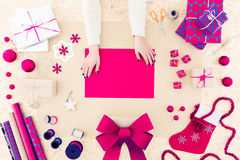 Cartolina di Natale stagionale diy creativa Fotografia Stock Libera da Diritti