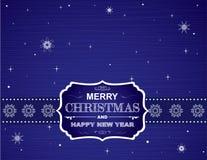Cartolina di Natale sulla carta da parati con i fiocchi di neve e le curve Fotografia Stock