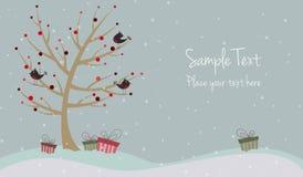 Cartolina di Natale sveglia con gli uccelli Fotografie Stock Libere da Diritti