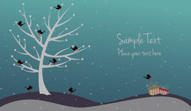 Cartolina di Natale sveglia con gli uccelli ed i presente Fotografia Stock