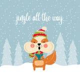 Cartolina di Natale sveglia con i canti natalizii di canto dello scoiattolo royalty illustrazione gratis