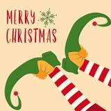 Cartolina di Natale sveglia con le gambe dell'elfo illustrazione di stock
