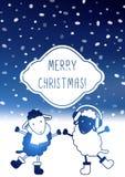 Cartolina di Natale sveglia con le pecore Fotografia Stock