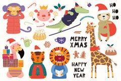 Cartolina di Natale sveglia degli animali illustrazione vettoriale