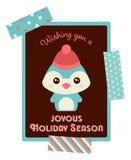 Cartolina di Natale sveglia del pinguino Fotografie Stock