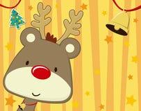 Cartolina di Natale sveglia di Rudolph Fotografia Stock