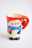 Cartolina di Natale: Tazza felice del pupazzo di neve - foto di riserva Fotografia Stock