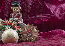 Cartolina di Natale Toy Soldier Bear Fotografia Stock