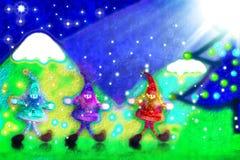 Cartolina di Natale, tre elfi della Santa nella foresta Immagine Stock Libera da Diritti