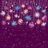 Cartolina di Natale viola, vettore Immagine Stock