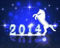 Cartolina di Natale 2014.Year di saluto del cavallo. Fotografia Stock