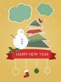 Cartolina di nuovo anno felice dell'annata Illustrazione Vettoriale