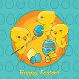 Cartolina di Pasqua con i pulcini svegli Fotografie Stock Libere da Diritti