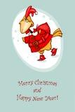 Cartolina 2017 di saluto con il gallo rosso Fotografia Stock Libera da Diritti