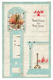 Cartolina di saluto del nuovo anno dell'annata Immagine Stock