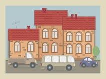 Cartolina di vecchia città Immagini Stock Libere da Diritti