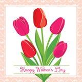 Cartolina di vettore con i tulipani Fotografie Stock