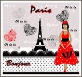 Cartolina di vettore con l'immagine della Francia frenchwoman Fotografie Stock