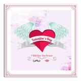 Cartolina di vettore di giorno di biglietti di S. Valentino, illustrazioni ed elementi di tipografia Immagini Stock