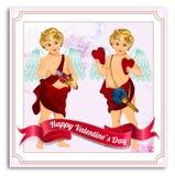 Cartolina di vettore di giorno di biglietti di S. Valentino, illustrazioni ed elementi di tipografia Fotografia Stock Libera da Diritti