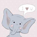 Cartolina disegnata a mano con l'elefante Fotografia Stock Libera da Diritti