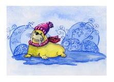 Cartolina disegnata a mano dell'acquerello con il tricheco sveglio di sorriso in cappello tricottato e sciarpa a strisce sui prec illustrazione vettoriale