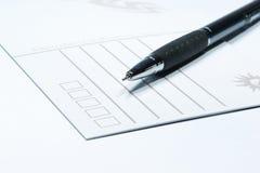 Cartolina e penna immagini stock libere da diritti