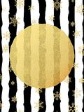 Cartolina elegante e di lusso di Natale con la cartolina d'auguri della stagnola di scintillio dell'oro Bande nere, fiocchi di ne illustrazione vettoriale