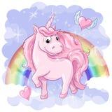 Cartolina fantastica con l'unicorno, l'arcobaleno ed i cuori con le ali Immagini Stock Libere da Diritti