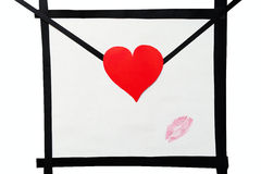 Cartolina fatta a mano di bacio del rossetto e della busta Immagini Stock