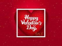 Cartolina felice di rosso di giorno di biglietti di S. Valentino Fotografia Stock
