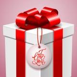 Cartolina felice di San Valentino, contenitore di regalo e messaggio scritto a mano di amore Fotografia Stock