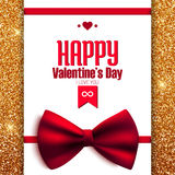 Cartolina felice di scintillio di San Valentino con l'arco, Fotografie Stock
