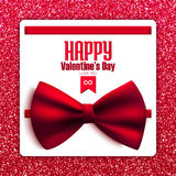 Cartolina felice di scintillio di San Valentino con l'arco, vettore Immagini Stock Libere da Diritti