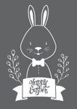 Cartolina grafica bianca di Pasqua del coniglietto Fotografie Stock
