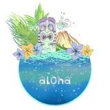 Cartolina hawaiana illustrazione di stock