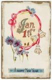 Cartolina il 1° gennaio di nuovi anni dell'annata Fotografie Stock