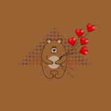 Cartolina il giorno del ` s del biglietto di S. Valentino Orso con i palloni sotto forma di cuore Struttura decorativa di vettore Immagini Stock Libere da Diritti