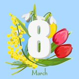 Cartolina il giorno dell'8 marzo Giorno del `s delle donne Fotografia Stock