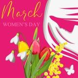 Cartolina il giorno dell'8 marzo Giorno del `s delle donne Fotografia Stock Libera da Diritti