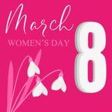 Cartolina il giorno dell'8 marzo Giorno del `s delle donne Fotografie Stock Libere da Diritti