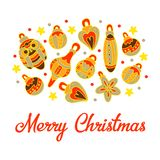 Cartolina Natale felice Giocattoli di natale Decorazioni di Natale degli elementi illustrazione di stock