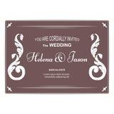 Cartolina orizzontale d'annata elegante per l'invito di nozze, marrone con un ornamento modellato L'ornamento è fatto in vittoria Fotografia Stock