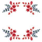Cartolina per la busta L'ornamento dell'acquerello ha dipinto i fiori e le foglie nei colori rossi, blu e verdi Fotografia Stock Libera da Diritti